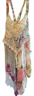Free People short dress Pink Beige Green Blue Floral on Tradesy