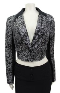 Free People People Metallic Silver Floral Cropped Blazer Angle Hem
