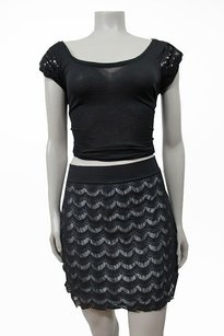 Free People People Scalloped Lace Blk Overlay Skirt Black