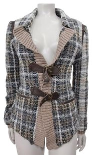 Free People People Plaid Buckle Wool Knit Cardigan Lined Coat Brown Sweater