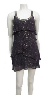Free People People Bias Ruffle Tiered Gold Sparkle 0 Dress