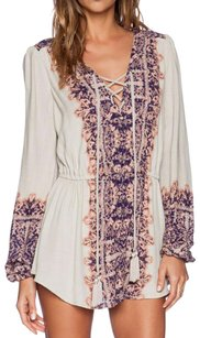 Free People short dress Longsleeve Print Tie on Tradesy