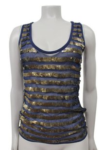 French Connection Gold Sequin Top navy