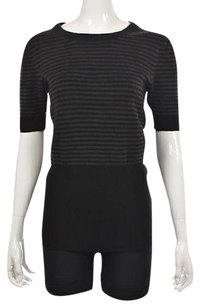 French Connection Womens Black Crewneck Striped Casual Shirt Sweater