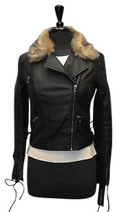 French Connection C5 Vegan Faux Fur Collar Motorcycle Jacket