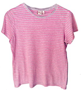 French Connection Striped T Shirt Pink & Grey