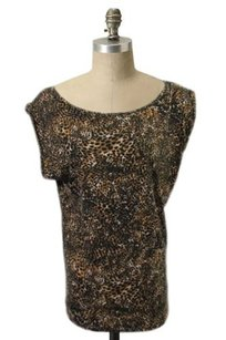 French Connection Cheetah Print Brown Black Wide Neck Draped Top Multi-Color
