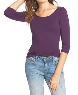 Frenchi 3-4-sleeve Color-purple Top