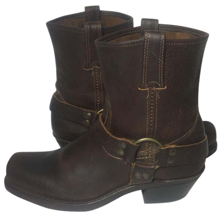 Frye Brown 77455 Harness 8 R Pull On Motorcycle Women's Boots/Booties Size US 9 Regular (M, B)