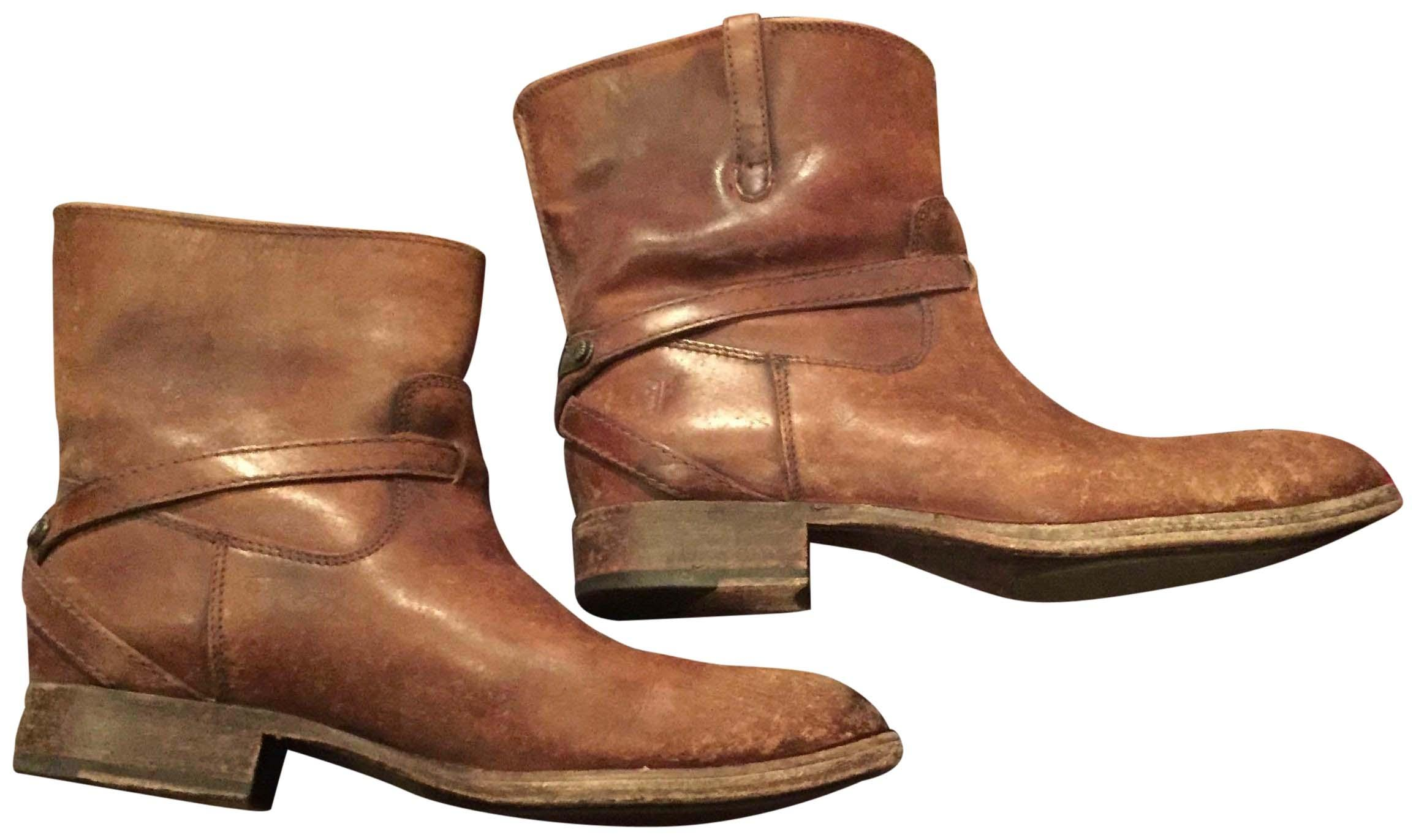 Frye Leather Cognac Stone Wash Boots ...