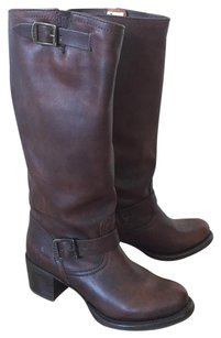 Frye Motorcycle Western Pull On Brown Boots