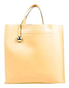 Furla Leather Dual Flat Tote in Beige