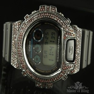 G-Shock Black G Shock Watch Red Lab Diamond Silicon Band G Shock Real Digital Iced Out