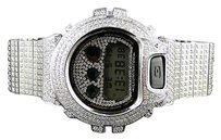 G-Shock Casio Mens G Shock 6900 Iced Out Jojo White Simulated Diamond Watch 27.50 Ct