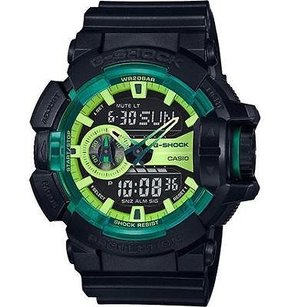 G-Shock G-shock Ga400ly-1a Watch Green Accented Dial Analog Digital Black Resin Band