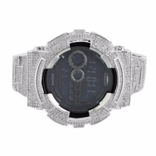 G-Shock Custom G Shock Watch Simulated Diamond Full Iced Out Day Date Stainless Steel