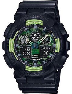 G-Shock Ga100ly-1a G-shock Ana-digi Green Camouflage Dial Labor Day Sale Black Resin