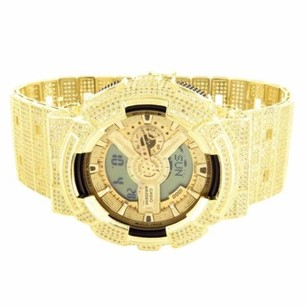 G-Shock Mens G-shock Watch Gold Tone Digital Analog Fully Iced Out Canary Yellow Stones