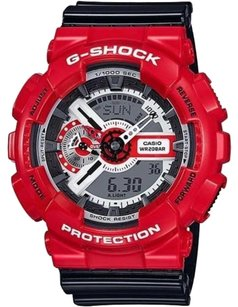 G-Shock Mens Ga110rd-4 G Shock Watch Red Bezel Black Resin Band Analog Digital