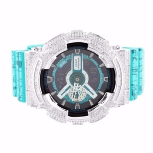 G-Shock Mens Turquoise Slash Print Bezel G Shock Ga110sl-3a Day Date Display Iced Watch