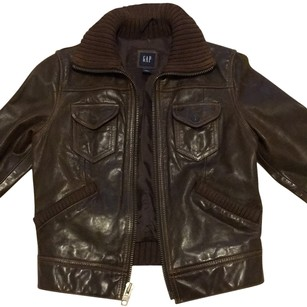 Gap Geniune Leather Motorcycle Chocolate brown Leather Jacket