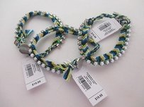 Gap Gap Blue Green Braided Crystal White Bead Toggle Bracelet Each Set