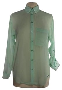 Garage Womens Mint Shirt Xsmall Polyester Long Sleeve Top Green