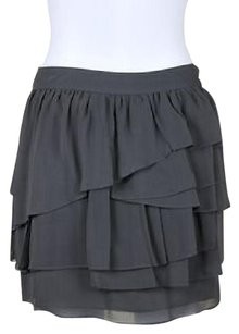 Garnet Hill Womens Tiered Silk Above Knee Casual Party Skirt Gray