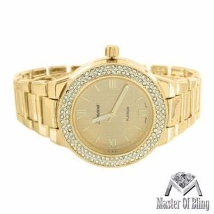 Geneva 14k Gold Tone Watch Womens Mk Style Parker Edition Mk Inspired Lab Diamond Bezel