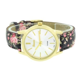 Geneva Black Floral Band Yellow Gold Tone White Dial Stainless Steel Back Womens Classy
