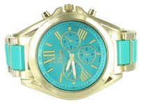 Geneva Turquoise Dial Watch Roman Numeral Dial Gold Tone Round Face Water Resistant