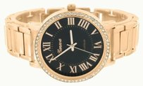 Geneva Rose Gold Watch Simulated Diamonds Bezel Black Dial Roman Numeral Dial Jojino