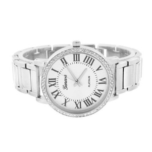 Geneva Geneva Watch Mens White Dial Silver Tone Stainless Steel Back Simulated Diamonds