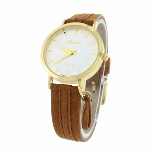 Geneva Gold Tone Timepiece Watch Round Face Analog Brown Fabric Band Womens Mm