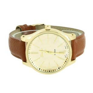 Geneva Gold Tone Watch Brown Leather Strap Water Resistant Stainless Steel Back Analog