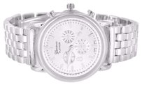 Geneva Mens Geneva Platinum Techno Wristwatch Triple Dial White Gold Finish Metal Band