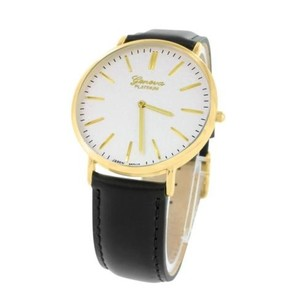 Geneva Mens Watches On Sale Gold Tone White Dial Round Face Analog Display Leather Band