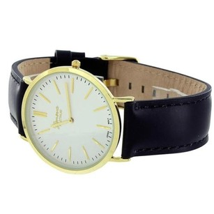Geneva Mens Yellow Gold Tone Watch White Dial Black Leather Band Party Wear Round Face