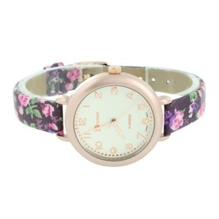 Geneva Purple Floral Band Watch Rose Gold Tone Womens Slim Design White Dial Ladies