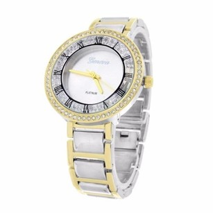 Geneva Tone Watch Party Wear Simulated Diamonds Gold Silver Tone Party Wear Elegant