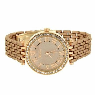 Geneva Womens Watches On Sale Simulated Diamond Bezel Roman Dial Brown Custom Band