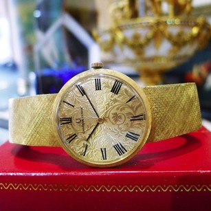 Geneve Mens Vintage Universal Geneve 18k Yellow Gold Hand Winding Ornate Dial Watch