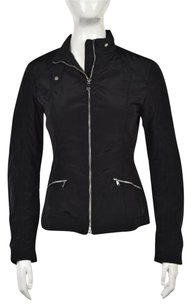Geox Womens Basic Solid Long Sleeve Casual Polyester Coat Black Jacket