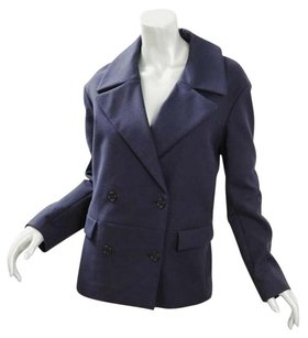 GERARD DAREL Womens Navy Cotton Oversized Double Breasted Coat 364 Blue Jacket