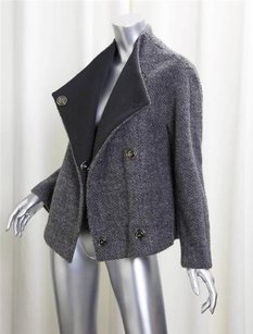 GERARD DAREL Darel Womens Tweed Wool Snap Classic Coat Gray Jacket