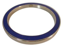 Gerard Yosca Gerard Yosca Blue Enamel Gold Thick Bangle Bracelet