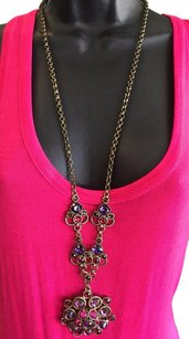 Gerard Yosca Gerard Yosca Vintage Gold Tone Purple Red Stone Chain Necklace