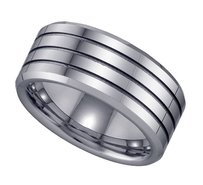 Geraud Tungsten Wedding Band Mens Triple Grooved Comfort Fit 9mm Sz 7 To 14