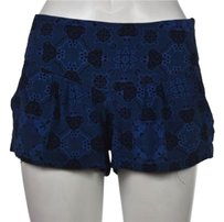 Geren Ford Womens Printed Casual Silk Cropped Trousers Shorts Blue