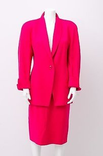 Gianfranco Ferre Gianfranco Ferre Vtg Bright Pink Wool Knit Jacket Pencil Skirt Suit Set L844